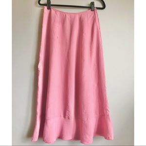 April Cornell polka dot pink flowy skirt XS